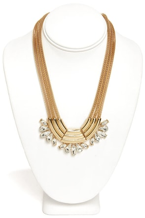 Into the Nile Gold Rhinestone Statement Necklace