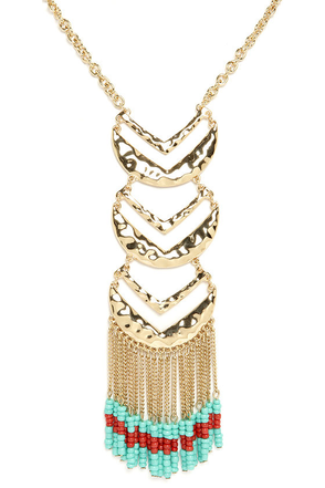 Trial and Arrows Gold Beaded Necklace