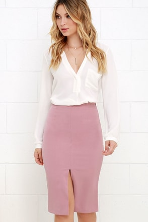 Perfect Penmanship Mauve Pink Pencil Skirt at Lulus.com!