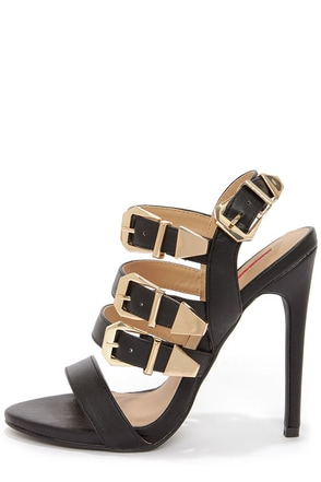 C Label Olive 17 Black and Gold Buckled High Heel Sandals