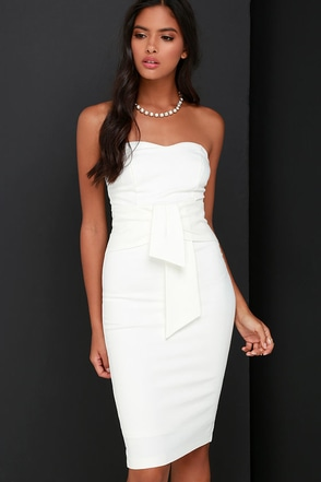 Sash Appeal Ivory Strapless Dress at Lulus.com!