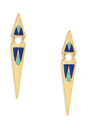 Shred of Chic Blue and Gold Earrings