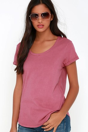RVCA Scoop Neck Rose Pink Tee at Lulus.com!