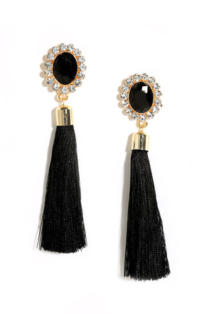 Curtain Close Black Tassel Earrings at Lulus.com!