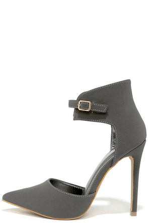 Oohs and Ahhs Grey Nubuck Ankle Strap Pumps at Lulus.com!