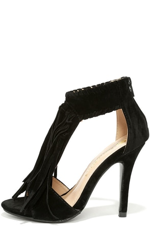Feisty Black Suede Fringe Sandals at Lulus.com!