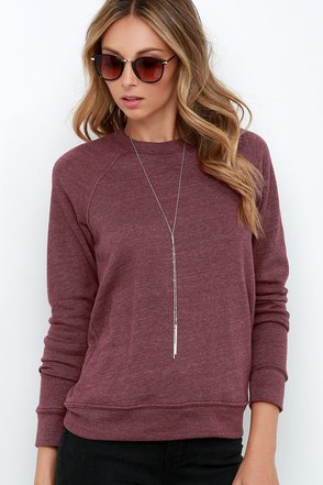 Obey Triblend Washed Burgundy Sweatshirt at Lulus.com!