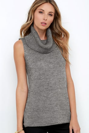 Warm-Hearted Grey Sleeveless Cowl Neck Sweater at Lulus.com!