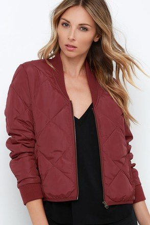 Obey Darby Wine Red Padded Jacket at Lulus.com!