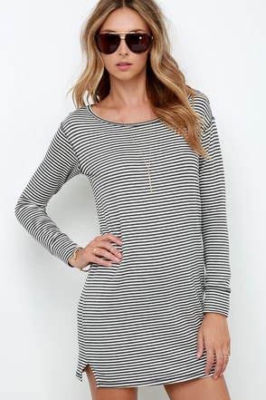 Obey Cresent Moon Dark Grey Striped Dress at Lulus.com!