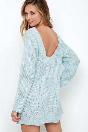 Somedays Lovin' Ralphie Light Blue Sweater Dress at Lulus.com!