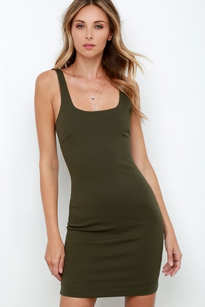 Don't Be Square Olive Green Bodycon Dress at Lulus.com!
