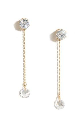 Studly Gold Rhinestone Earrings at Lulus.com!