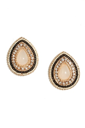 Style Shield Gold and Black Earrings at Lulus.com!