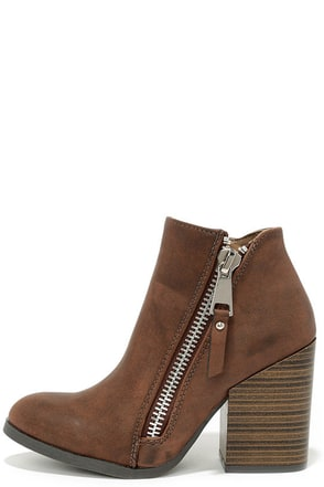Block Pick Taupe Brown High Heel Booties at Lulus.com!