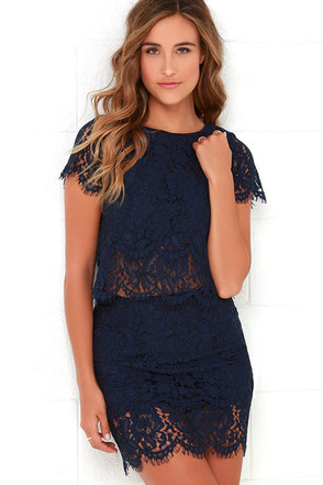 Turn Back Time Navy Blue Lace Two-Piece Dress