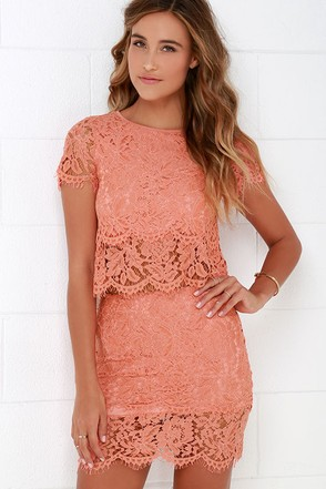 Turn Back Time Peach Lace Two-Piece Dress at Lulus.com!