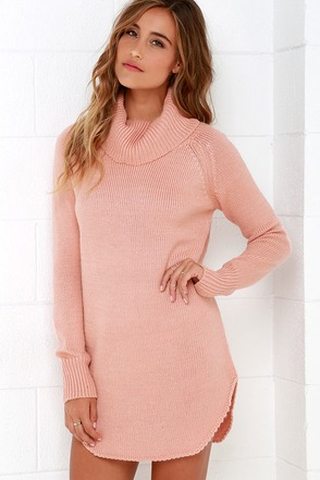 Good and Plenty Blush Pink Sweater Dress at Lulus.com!