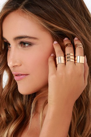 Happy and You Know It Gold Ring Set at Lulus.com!