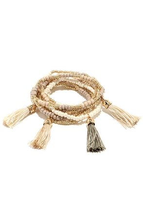 Talkin' Tassels Gold and Taupe Bracelet Set at Lulus.com!