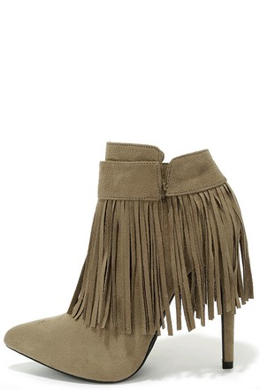I'm Your Venus Taupe Grey Suede Fringe Booties at Lulus.com!