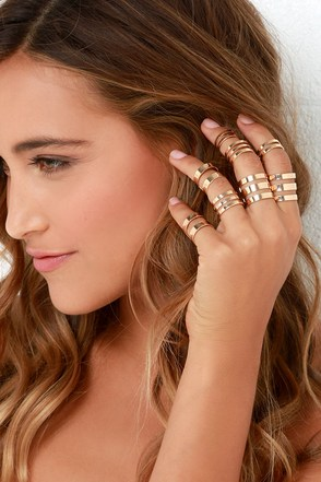 Honey, I'm Home Gold Ring Set at Lulus.com!