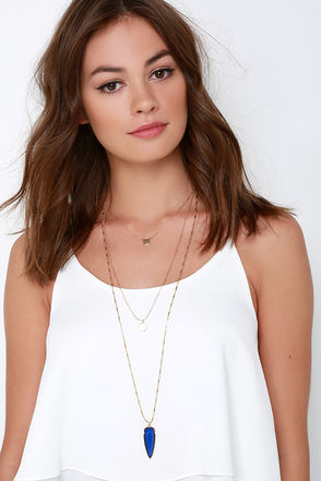 Flickering Flint Gold and Blue Layered Necklace at Lulus.com!