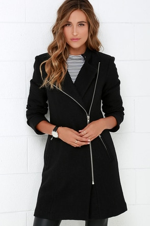 BB Dakota Grayson Long Black Wool Coat at Lulus.com!