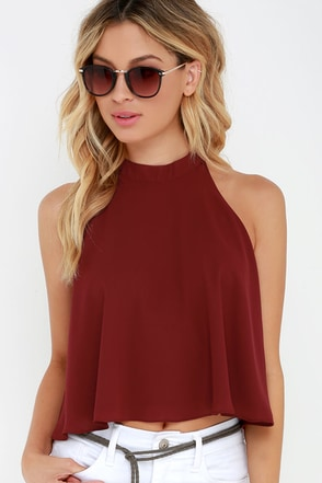 Let's Fly Wine Red Crop Top at Lulus.com!
