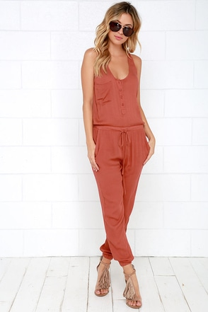 Big City Dreams Rust Red Jumpsuit at Lulus.com!