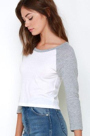 RVCA Label Crop Raglan Ivory and Grey Long Sleeve Top at Lulus.com!