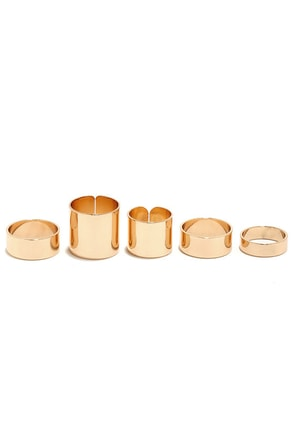 Band Camp Gold Ring Set at Lulus.com!