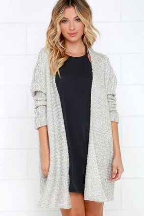 Cup of Cozy Light Grey Cardigan Sweater at Lulus.com!