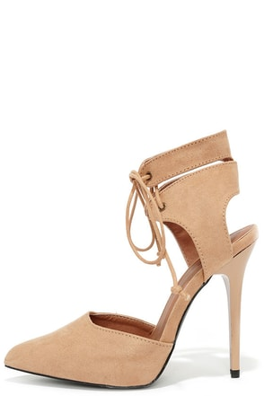 Stunning Stature Toffee Brown Suede Lace-Up Heels at Lulus.com!