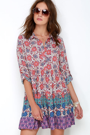 Once and Floral Purple Print Shirt Dress at Lulus.com!