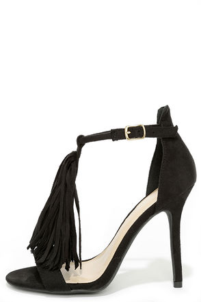 Cute 66 Black Suede Fringe High Heel Sandals at Lulus.com!