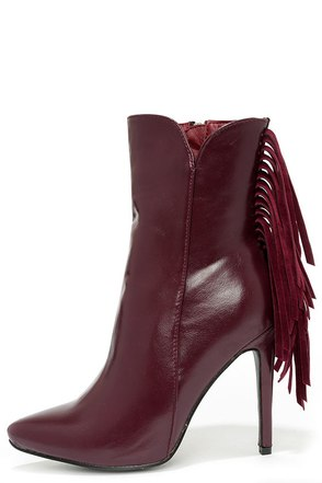 Manhattan Breeze Wine Red High Heel Fringe Booties at Lulus.com!