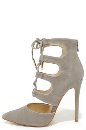 Ties for You Grey Suede Lace-Up Heels at Lulus.com!