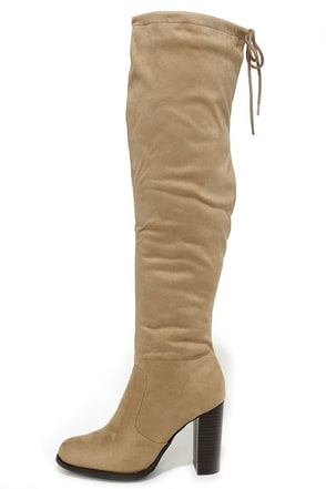 Up to the Challenge Beige Suede Over the Knee Boots at Lulus.com!