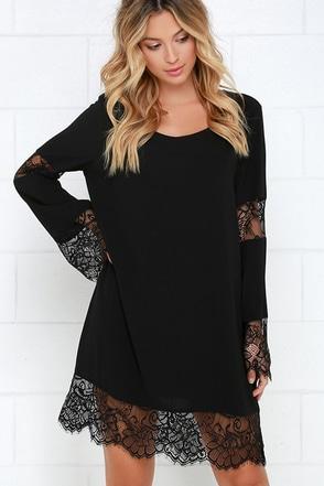 Constellation Black Long Sleeve Lace Dress at Lulus.com!