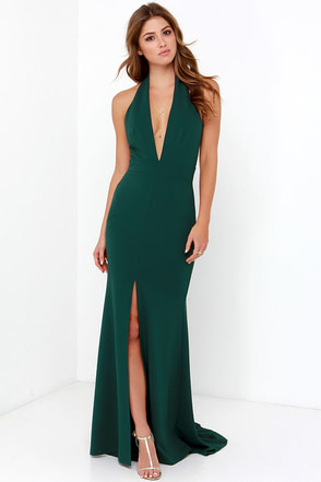 Rest is Unwritten Forest Green Halter Maxi Dress at Lulus.com!