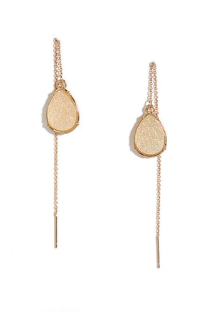 Mica Me Crazy Iridescent and Gold Threader Earrings at Lulus.com!