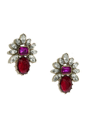 Pretty Principessa Burgundy Rhinestone Earrings at Lulus.com!