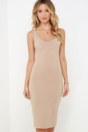 Wicked Games Dark Beige Bodycon Midi Dress at Lulus.com!