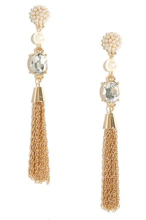 Make Some Magic Gold Pearl Tassel Earrings at Lulus.com!