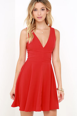 Sublime Time Red Skater Dress at Lulus.com!