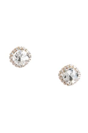 Pretty Gold Earrings Clear Rhinestone Earrings 12 00