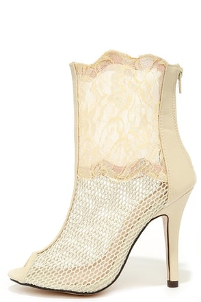 C'est La Vie Nude Mesh and Lace Booties at Lulus.com!