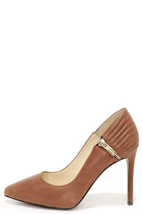 Jessica Simpson Pretta New Luggage Tan Leather Pointed Pumps at Lulus.com!