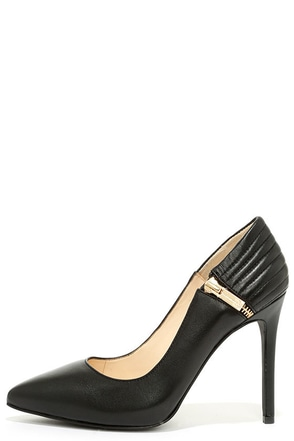 Jessica Simpson Pretta Black Leather Pointed Pumps at Lulus.com!